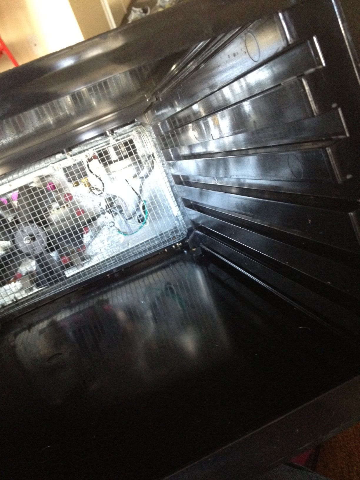 Step 1: Turn off and unplug your dehydrator. Remove the door and all of the  trays. The timer's the guy on the right, in the cage.