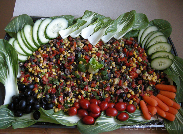 Ultimate Vegetable Taco Dip Platter