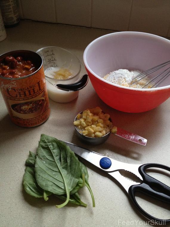 Vegan Chili and Cornbread in a Bowl