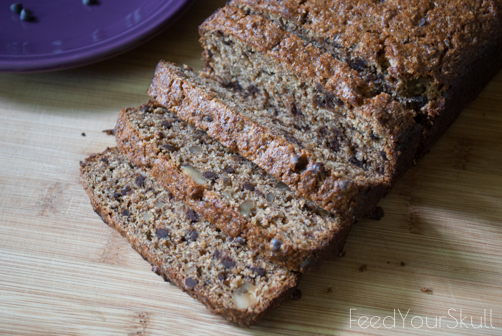 Vegan Spent Grain Chocolate Chip Banana Walnut Bread