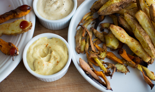 Witch Chips with Garlic and Curry Dipping Sauces | Feed Your Sku