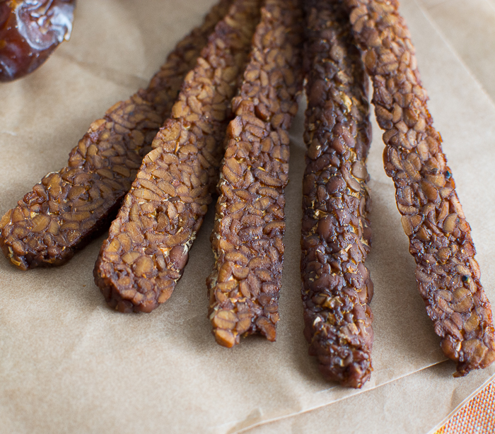 Teriyaki Tempeh Vegan Jerky | Feed Your Skull