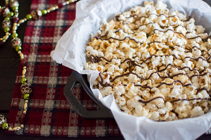 Lazy Chocolate Drizzled Sweet and Salty Popcorn | Feed Your Skul