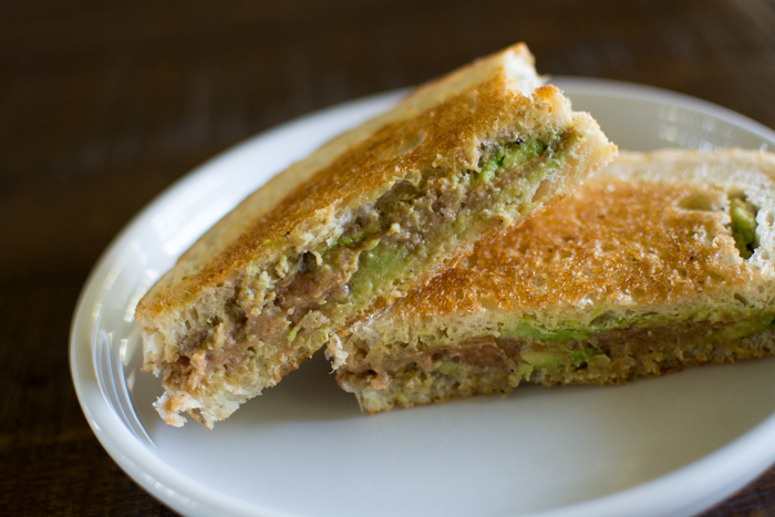Grilled Avocado Refried Bean Sandwich | Feed Your Skull