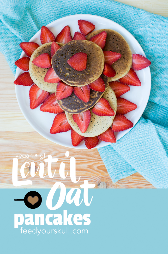 Vegan + GF // Lentil Oat Pancakes // recipe at feedyourskull.com